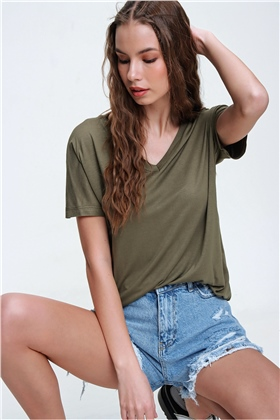 V YAKA BASIC T-SHIRT - HAKİ